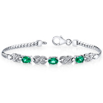 Oval Cut Emerald & CZ Bracelet in Sterling Silver SB4296