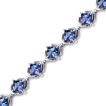 12.00 ct Princess Cut Alexandrite Bracelet in Sterling Silver SB4302