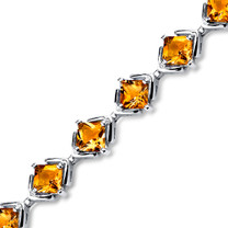 8.00 ct Princess Cut Citrine Bracelet in Sterling Silver SB4304