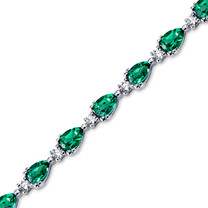 7.00 ct Pear Shape Emerald & CZ Bracelet in Sterling Silver SB4308