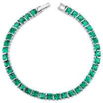 13.00 ct Princess Cut Emerald Bracelet in Sterling Silver SB4310
