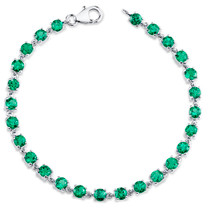 7.00 ct Round Shape Emerald Bracelet in Sterling Silver SB4312