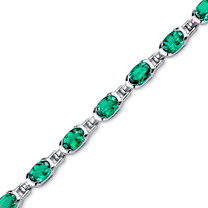 7.00 ct Oval Shape Emerald Bracelet in Sterling Silver SB4314