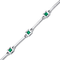 Princess Cut Emerald Bracelet in Sterling Silver SB4320
