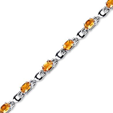 5.50 ct Oval Shape Citrine Bracelet in Sterling Silver SB4326