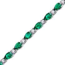 13.00 ct Pear Shape Emerald & CZ Bracelet in Sterling Silver SB4328