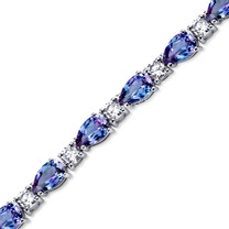 13.00 ct Pear Shape Alexandrite & CZ Bracelet Sterling Silver SB4330