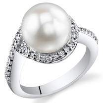 Pearl and Cubic Zirconia Sterling Silver Ring Sizes 5 to 9 SR10950