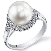 Pearl and Cubic Zirconia Sterling Silver Ring Sizes 5 to 9 SR10952