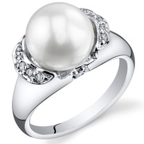 Pearl and Cubic Zirconia Sterling Silver Ring Sizes 5 to 9 SR10958