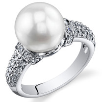 Pearl and Cubic Zirconia Sterling Silver Ring Sizes 5 to 9 SR10960