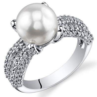 Pearl and Cubic Zirconia Sterling Silver Ring Sizes 5 to 9 SR10962