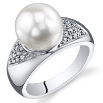 Pearl and Cubic Zirconia Sterling Silver Ring Sizes 5 to 9 SR10964