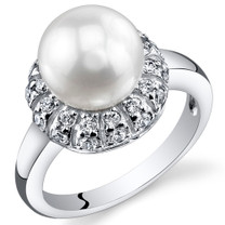 Pearl and Cubic Zirconia Sterling Silver Ring Sizes 5 to 9 SR10966