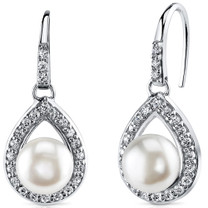 8.5mm Freshwater White Pearl Earrings in Sterling Silver SE8316