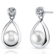 6.5mm Freshwater White Pearl Earrings in Sterling Silver SE8318