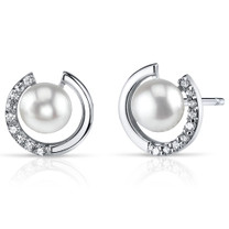 6.5mm Freshwater White Pearl Earrings in Sterling Silver SE8324