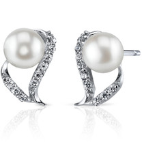 7.0mm Freshwater White Pearl Earrings in Sterling Silver SE8326