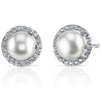 7.5mm Freshwater White Pearl Earrings in Sterling Silver SE8338
