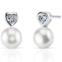 8.5mm Freshwater White Pearl Earrings in Sterling Silver SE8350
