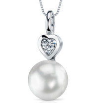 10.0mm Freshwater White Pearl Pendant in Sterling Silver SP10894