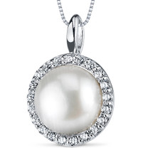 10.0mm Freshwater White Pearl Pendant in Sterling Silver SP10898