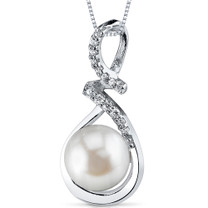 9.0mm Freshwater White Pearl Pendant in Sterling Silver SP10900