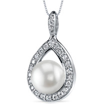 10.0mm Freshwater White Pearl Pendant in Sterling Silver SP10904