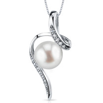 8.0mm Freshwater White Pearl Pendant in Sterling Silver SP10912