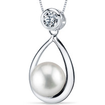 8.5-9.0mm Freshwater White Pearl Pendant in Sterling Silver SP10916