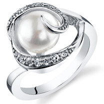 8.5mm Freshwater White Pearl Sterling Silver Ring Sizes 5 to 9 SR11028