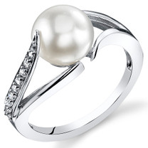 8.0mm Freshwater White Pearl Sterling Silver Ring Sizes 5 to 9 SR11030
