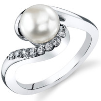 7.0mm Freshwater White Pearl Sterling Silver Ring Sizes 5 to 9 SR11032