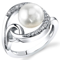 8.5mm Freshwater White Pearl Sterling Silver Ring Sizes 5 to 9 SR11034