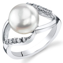 9.0mm Freshwater White Pearl Sterling Silver Ring Sizes 5 to 9 SR11038