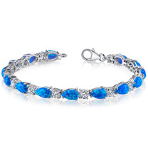 Blue-Green Opal Bracelet Sterling Silver Pear Shape 10.00 Cts SB4340