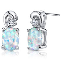 Opal Earrings Sterling Silver CZ Accent 1.50 Cts SE8366