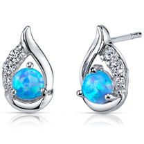 Blue Opal Earrings Sterling Silver Round Cabochon 1.00 Cts SE8370