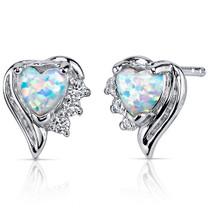 Opal Earrings Sterling Silver Heart Shape 1.00 Cts SE8372