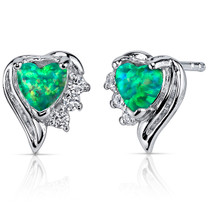 Green Opal Earrings Sterling Silver Heart Shape 1.00 Cts SE8374