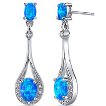 Blue-Green Opal Earrings Sterling Silver Oval Shape 3.50 Cts SE8380