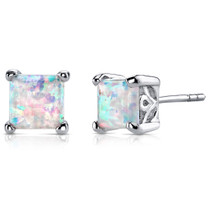 Opal Stud Earrings Sterling Silver Princess Cut 2.00 Cts SE8382