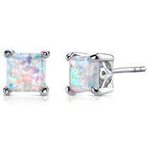 Opal Stud Earrings Sterling Silver Princess Cut 2.00 Cts SE8382