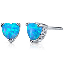 Blue Opal Stud Earrings Sterling Silver Heart Shape 1.50 Cts SE8390