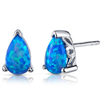 Blue-Green Opal Earrings Sterling Silver Pear Shape 1.50 Cts SE8392