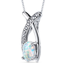 Opal Pendant Necklace Sterling Silver Oval Shape 0.75 Cts SP10938