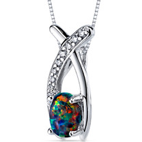 Black Opal Pendant Necklace Sterling Silver Oval 0.75 Cts SP10940