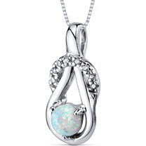 Opal Pendant Necklace Sterling Silver Round Shape 0.50 Cts SP10942