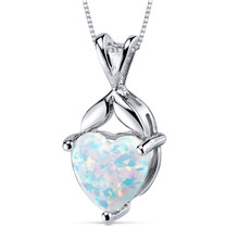 Opal Pendant Necklace Sterling Silver Heart Shape 2.50 Cts SP10946