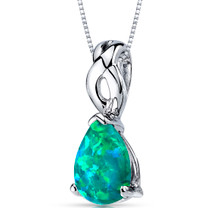 Green Opal Pendant Necklace Sterling Silver Pear Shape 1.75 Cts SP10954